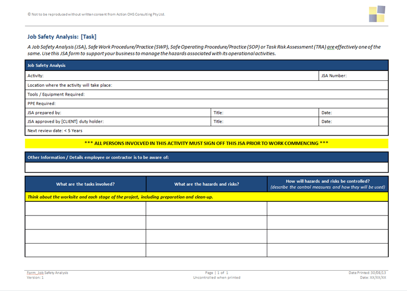 Images Of Jsa For Construction Work  Job Safety Analysis Form Template